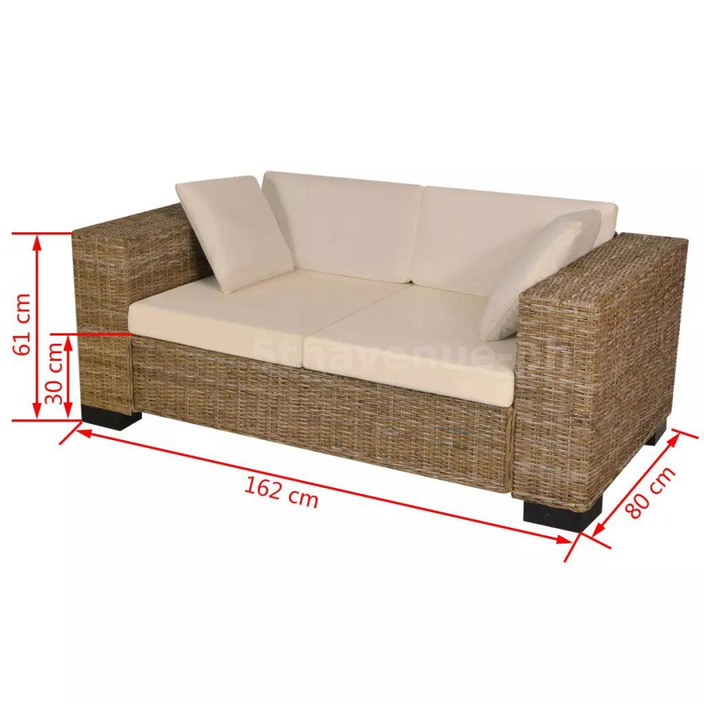 sofa set 7 tlg rattan 2 sitzer loungesofa couch wohnm bel b rom bel echt d2o3 ebay. Black Bedroom Furniture Sets. Home Design Ideas