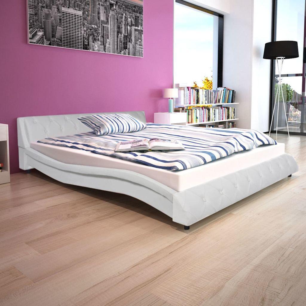 Bett mit Memory Schaum Matratze Kunstleder 160x200 cm wei? H4C2 | eBay